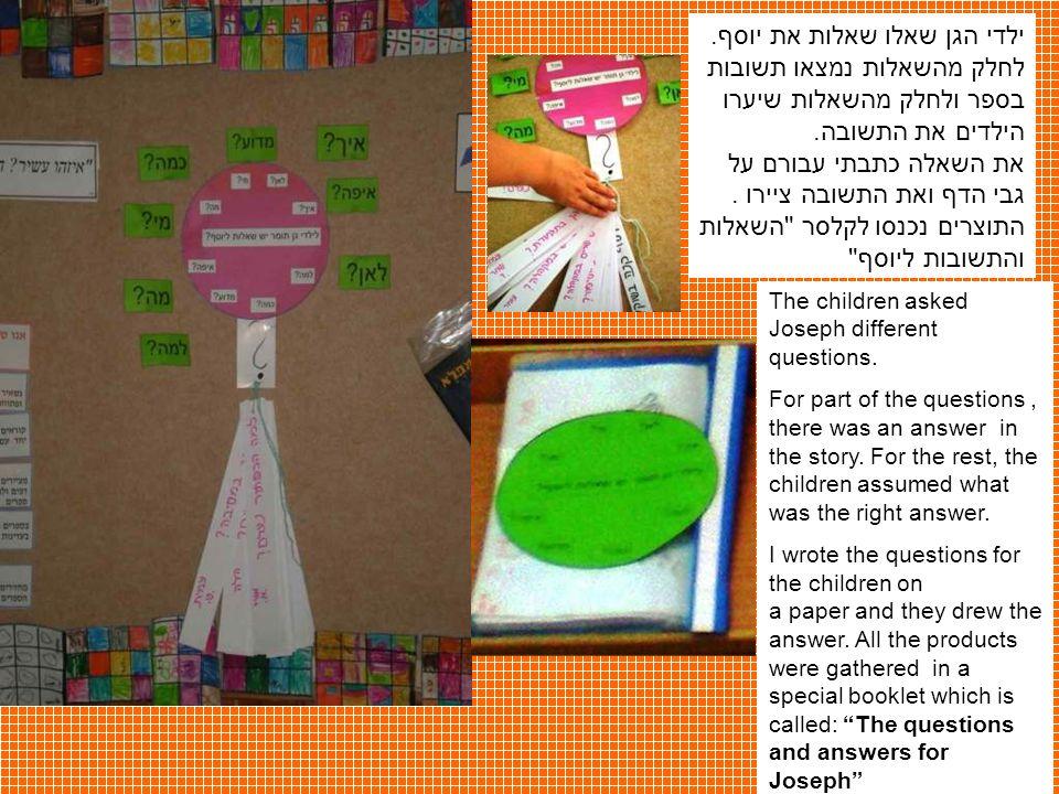 ילדי הגן שאלו שאלות את יוסף. לחלק מהשאלות נמצאו תשובות בספר ולחלק מהשאלות שיערו הילדים את התשובה. את השאלה כתבתי עבורם על גבי הדף ואת התשובה ציירו. הת