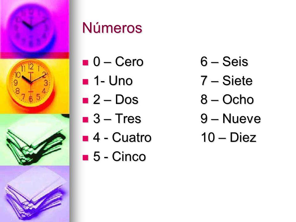 Números 0 – Cero6 – Seis 0 – Cero6 – Seis 1- Uno7 – Siete 1- Uno7 – Siete 2 – Dos8 – Ocho 2 – Dos8 – Ocho 3 – Tres9 – Nueve 3 – Tres9 – Nueve 4 - Cuatro 10 – Diez 4 - Cuatro 10 – Diez 5 - Cinco 5 - Cinco