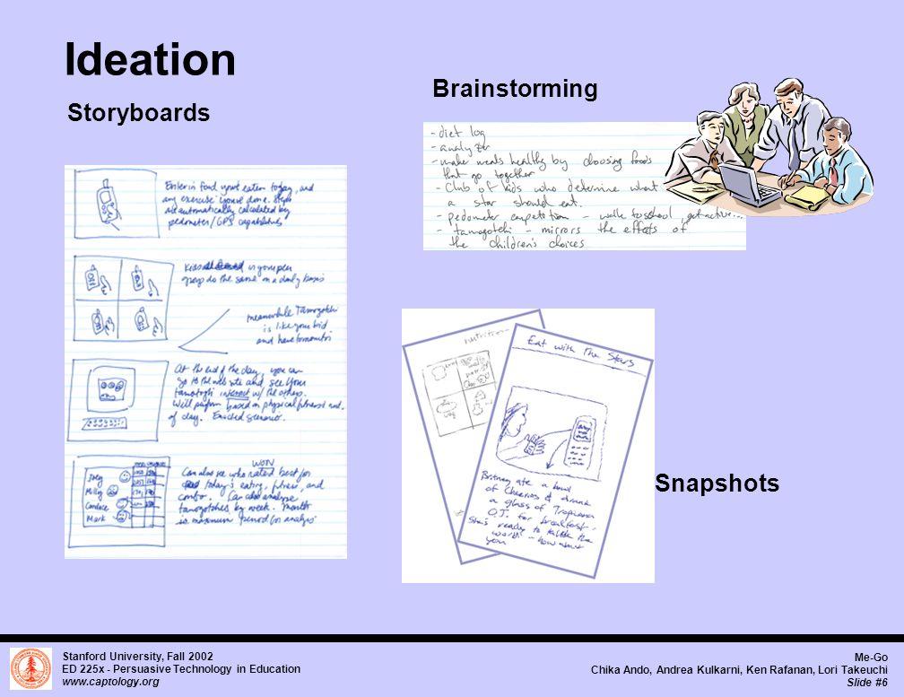 Stanford University, Fall 2002 ED 225x - Persuasive Technology in Education www.captology.org Me-Go Chika Ando, Andrea Kulkarni, Ken Rafanan, Lori Takeuchi Slide #7 Ideation - Character Exploration