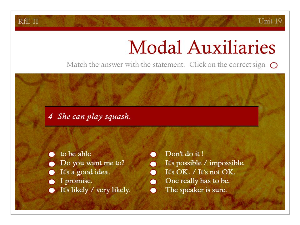 Unit 19 RfE II Modal Auxiliaries to be ableDon t do it .