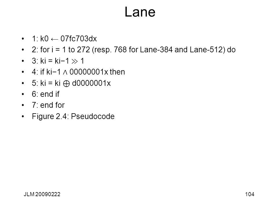 Lane 1: k0 ← 07fc703dx 2: for i = 1 to 272 (resp.
