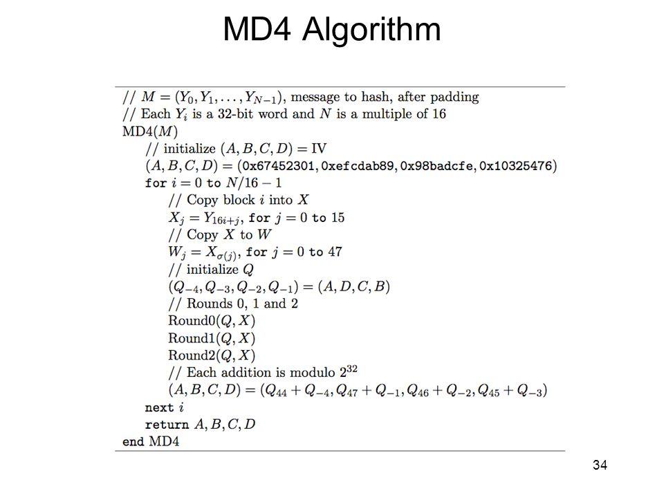 MD4 Algorithm 34