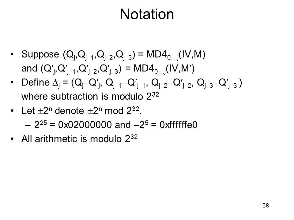 Notation Suppose (Q j,Q j  1,Q j  2,Q j  3 ) = MD4 0…j (IV,M) and (Q j,Q j  1,Q j  2,Q j  3 ) = MD4 0…j (IV,M) Define  j = (Q j  Q j, Q j  1  Q j  1, Q j  2  Q j  2, Q j  3  Q j  3 ) where subtraction is modulo 2 32 Let  2 n denote  2 n mod 2 32.