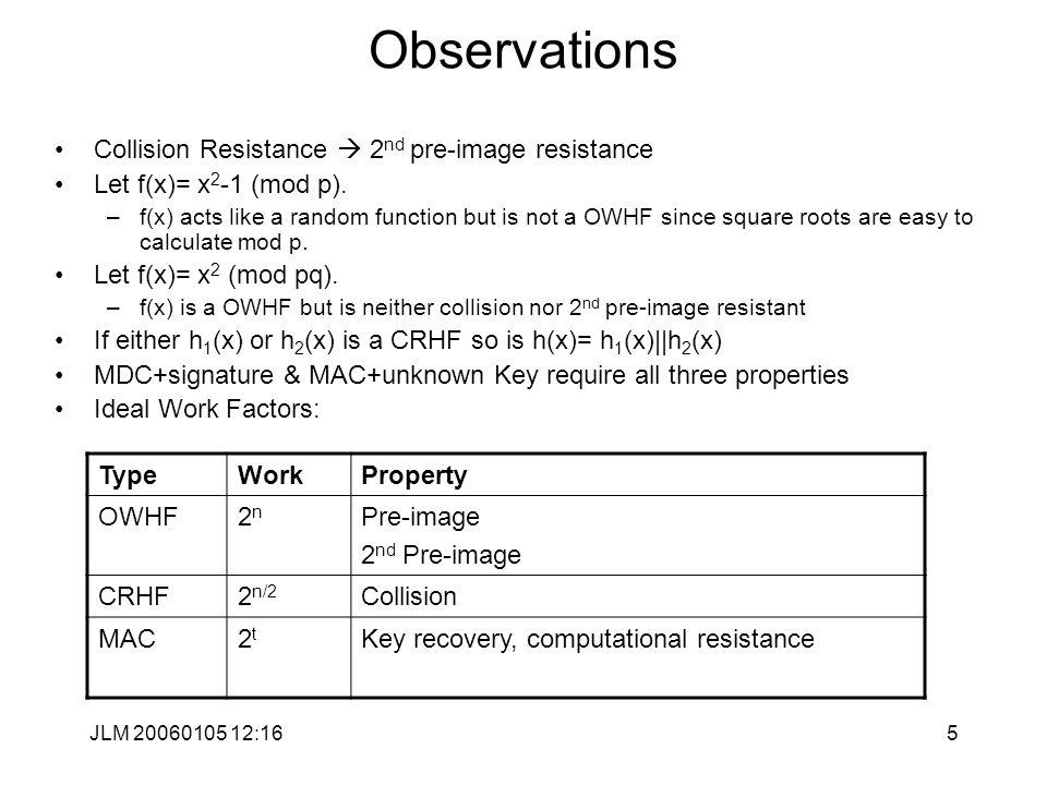 JLM 20060105 12:165 Observations Collision Resistance  2 nd pre-image resistance Let f(x)= x 2 -1 (mod p).