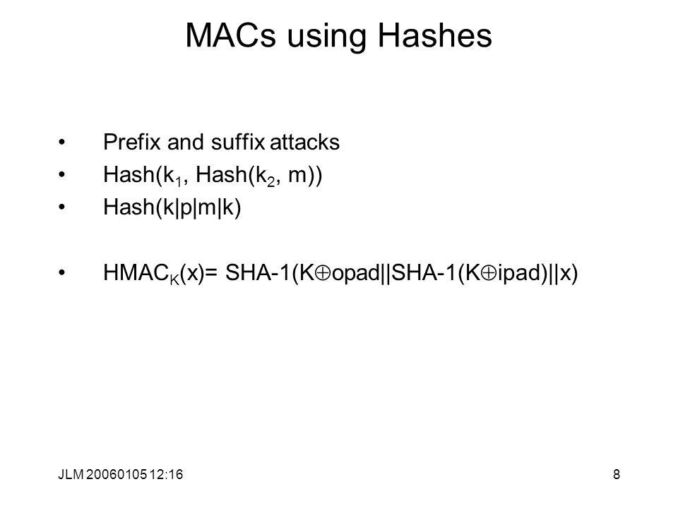 JLM 20060105 12:168 MACs using Hashes Prefix and suffix attacks Hash(k 1, Hash(k 2, m)) Hash(k|p|m|k) HMAC K (x)= SHA-1(K  opad||SHA-1(K  ipad)||x)