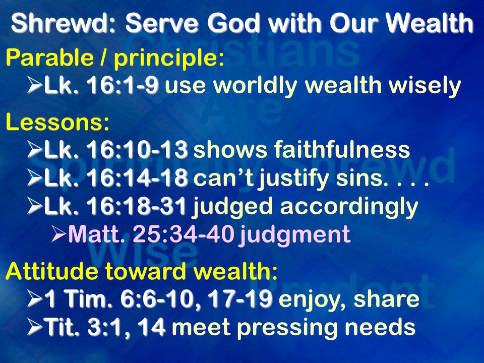 Shrewd: Ready For Christ's Return Matt.24:44-46  ready for master's return Matt.