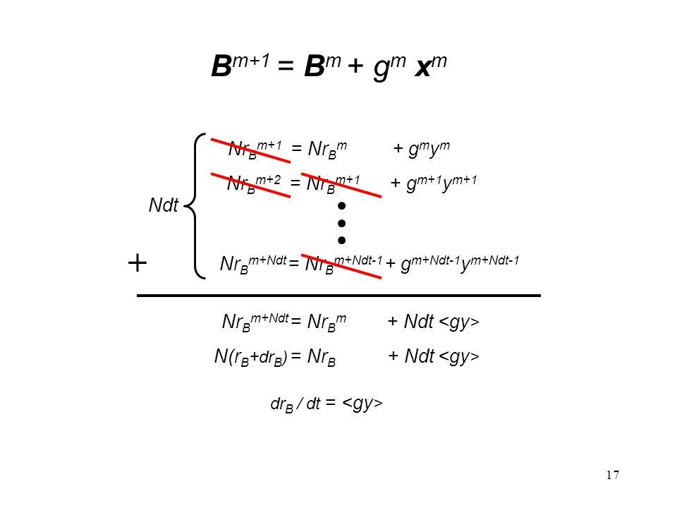 17 B m+1 = B m + g m x m + Nr B m+1 = Nr B m + g m y m Ndt Nr B m+2 = Nr B m+1 + g m+1 y m+1 Nr B m+Ndt = Nr B m+Ndt-1 + g m+Ndt-1 y m+Ndt-1 Nr B m+Ndt = Nr B m + Ndt N(r B +dr B ) = Nr B + Ndt dr B / dt =