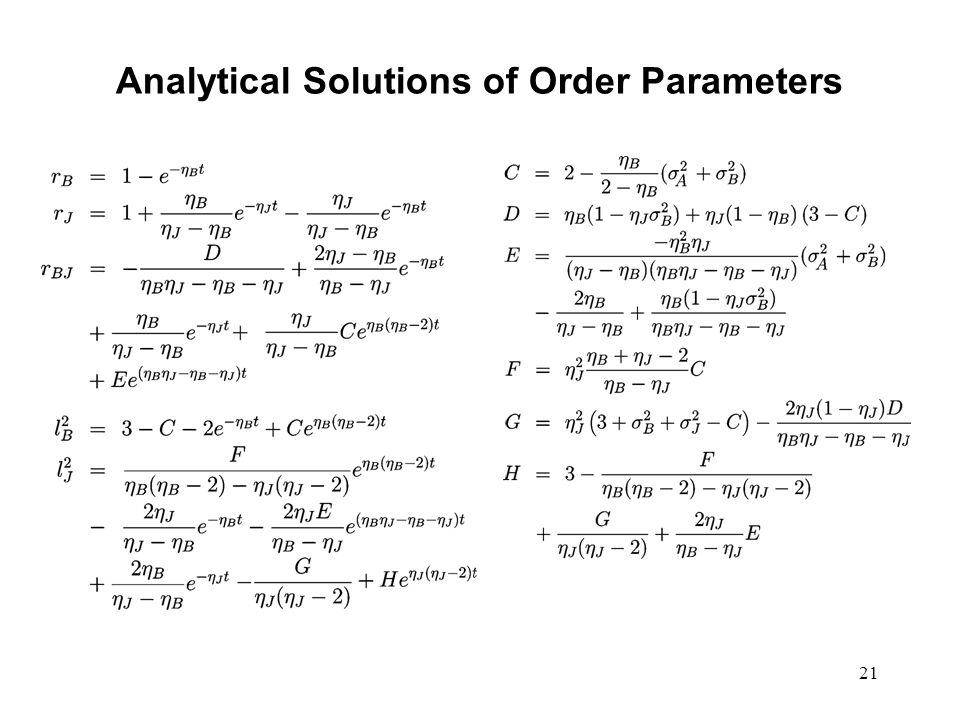 21 Analytical Solutions of Order Parameters