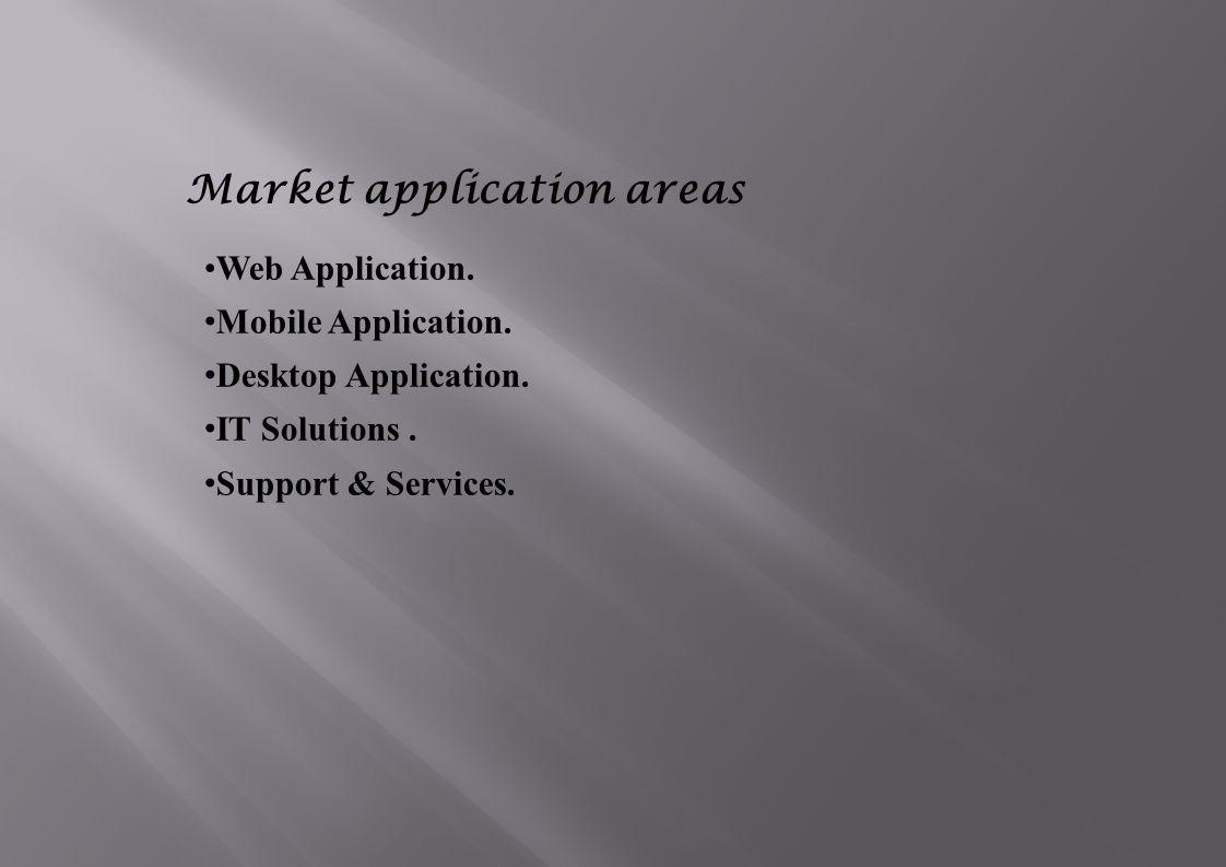 Market application areas Web Application.Mobile Application.