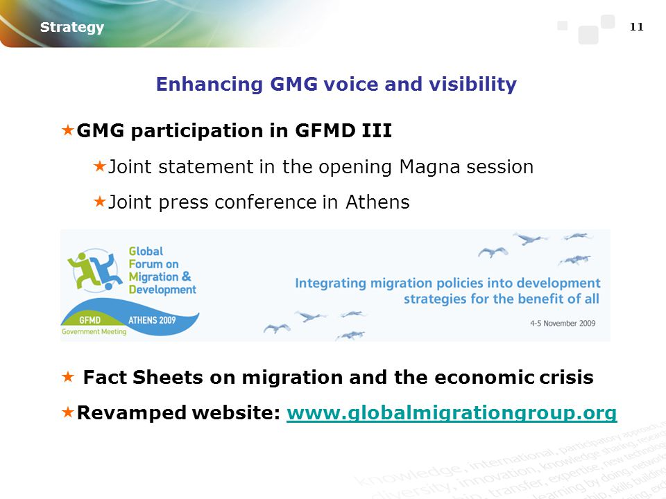 11 Enhancing GMG voice and visibility  GMG participation in GFMD III  Joint statement in the opening Magna session  Joint press conference in Athens  Fact Sheets on migration and the economic crisis  Revamped website: www.globalmigrationgroup.orgwww.globalmigrationgroup.org Strategy