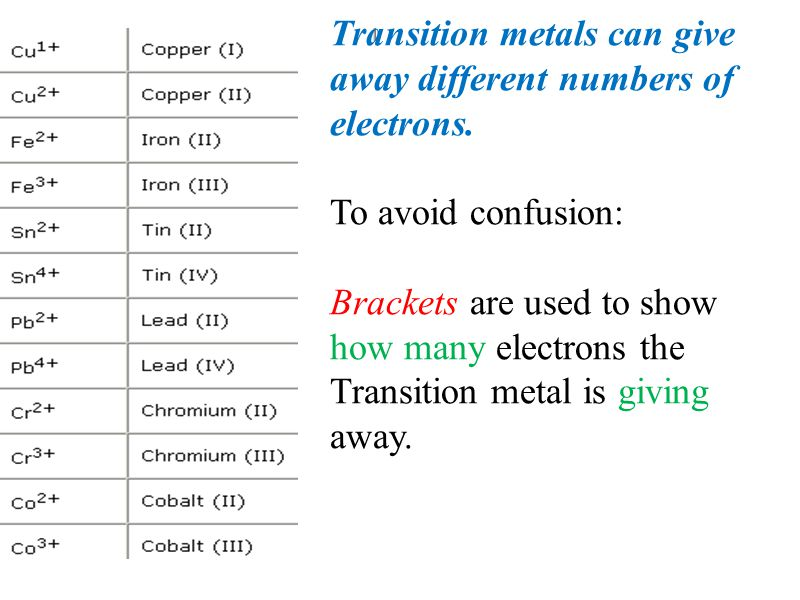 Transition metals can give away different numbers of electrons.