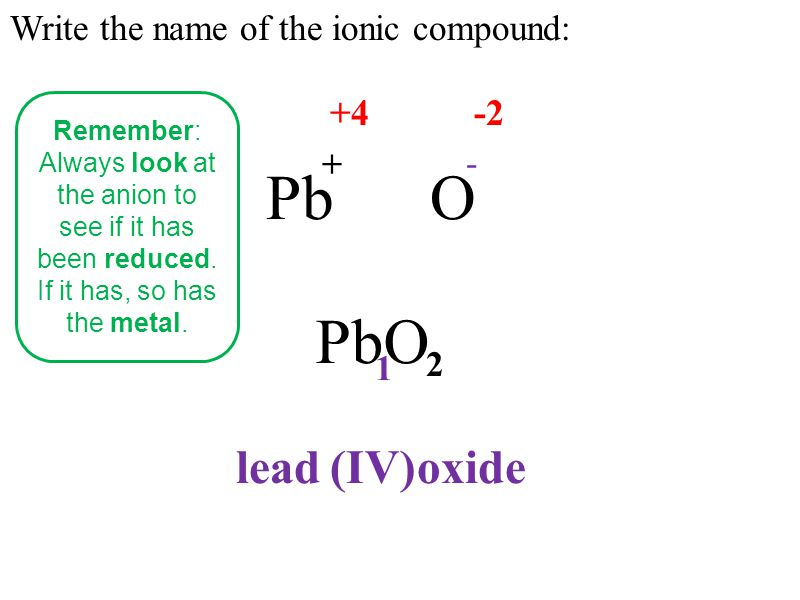 Write the name of the ionic compound: PbO + - 1 2 lead oxide(IV) +4-2 Remember: Always look at the anion to see if it has been reduced.