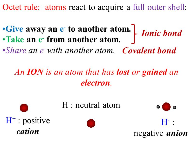 Octet rule: atoms react to acquire a full outer shell: Give away an e - to another atom.