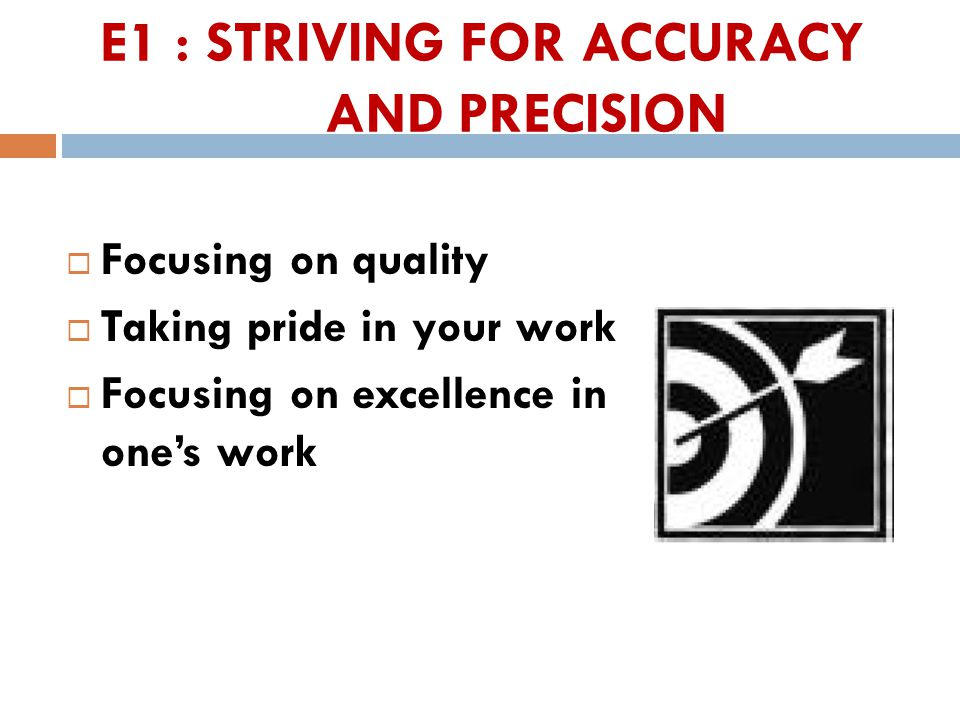 E1 : STRIVING FOR ACCURACY AND PRECISION  Focusing on quality  Taking pride in your work  Focusing on excellence in one's work 30