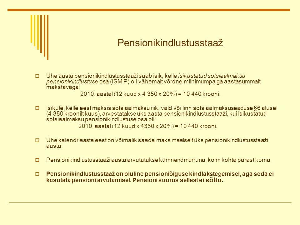 Pensionikindlustusstaaž  Ühe aasta pensionikindlustusstaaži saab isik, kelle isikustatud sotsiaalmaksu pensionikindlustuse osa (ISM P) oli vähemalt võrdne miinimumpalga aastasummalt makstavaga: 2010.