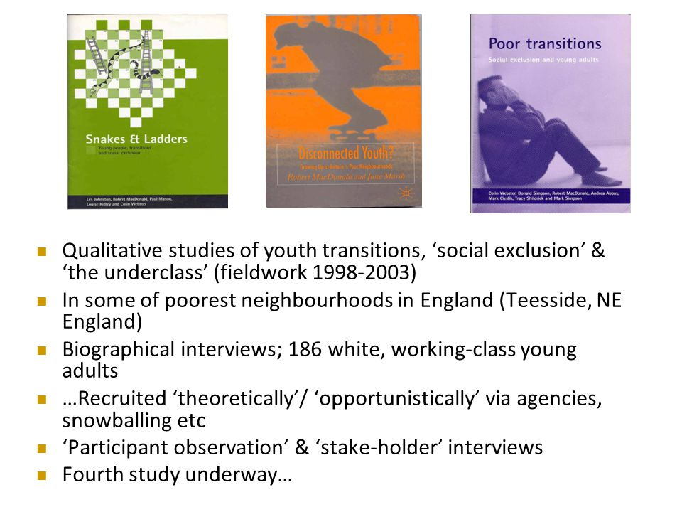 Qualitative studies of youth transitions, 'social exclusion' & 'the underclass' (fieldwork 1998-2003) In some of poorest neighbourhoods in England (Teesside, NE England) Biographical interviews; 186 white, working-class young adults …Recruited 'theoretically'/ 'opportunistically' via agencies, snowballing etc 'Participant observation' & 'stake-holder' interviews Fourth study underway…