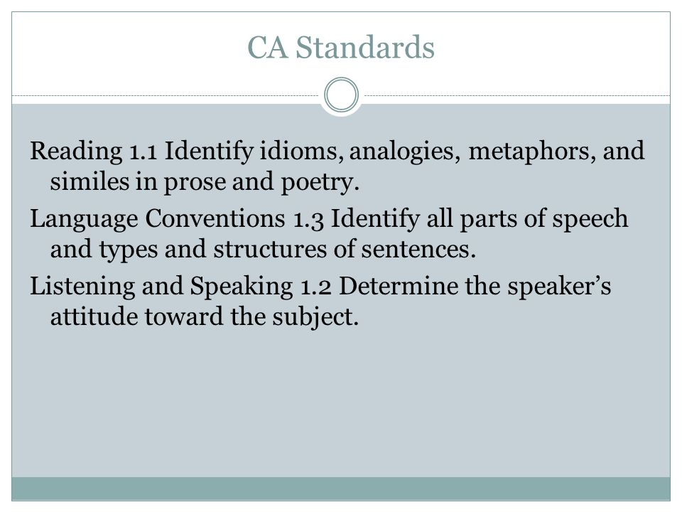 CA Standards Reading 1.1 Identify idioms, analogies, metaphors, and similes in prose and poetry. Language Conventions 1.3 Identify all parts of speech