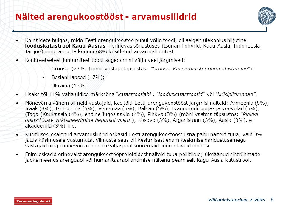 Välisministeerium 2-2005 8 Näited arengukoostööst - arvamusliidrid Ka näidete hulgas, mida Eesti arengukoostöö puhul välja toodi, oli selgelt ülekaalus hiljutine looduskatastroof Kagu-Aasias – erinevas sõnastuses (tsunami ohvrid, Kagu-Aasia, Indoneesia, Tai jne) nimetas seda koguni 68% küsitletud arvamusliidritest.
