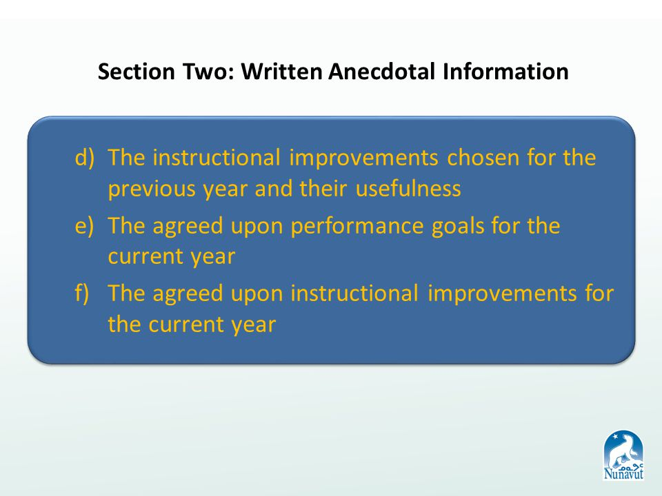 d)The instructional improvements chosen for the previous year and their usefulness e)The agreed upon performance goals for the current year f)The agreed upon instructional improvements for the current year d)The instructional improvements chosen for the previous year and their usefulness e)The agreed upon performance goals for the current year f)The agreed upon instructional improvements for the current year Section Two: Written Anecdotal Information
