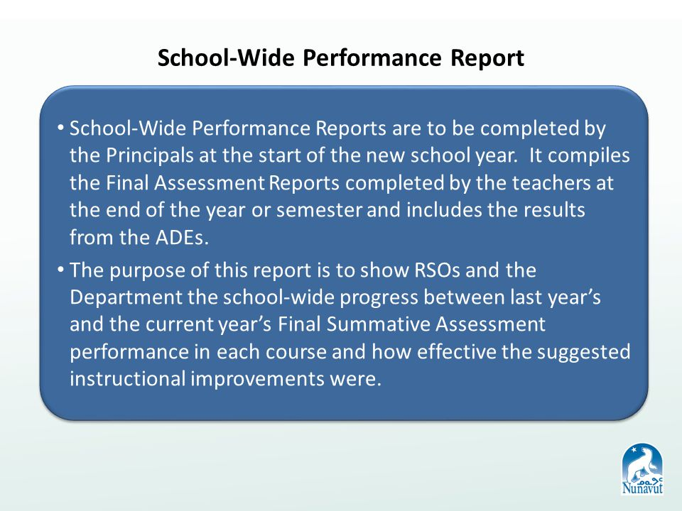 School-Wide Performance Report School-Wide Performance Reports are to be completed by the Principals at the start of the new school year.