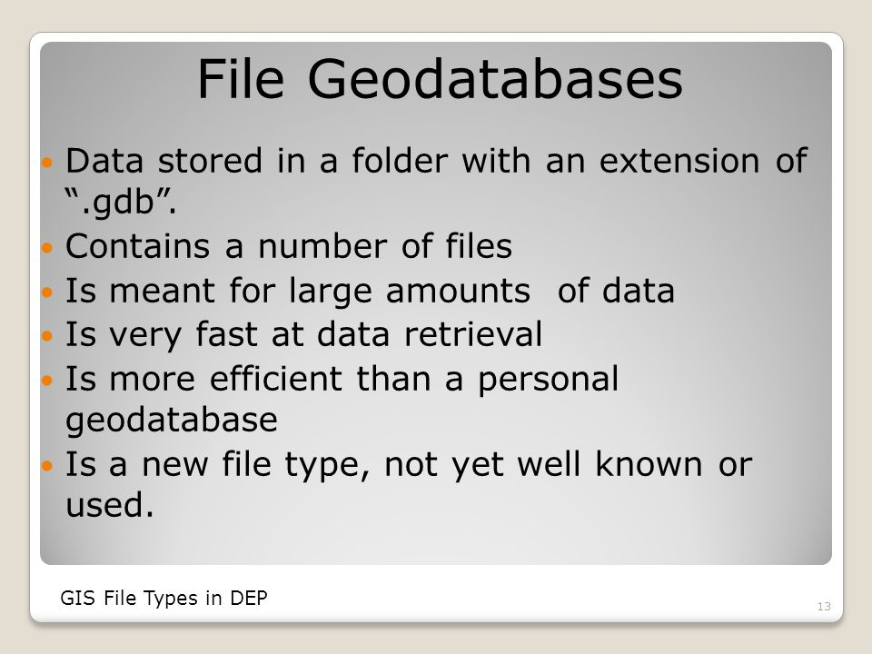 File Geodatabases Data stored in a folder with an extension of .gdb .