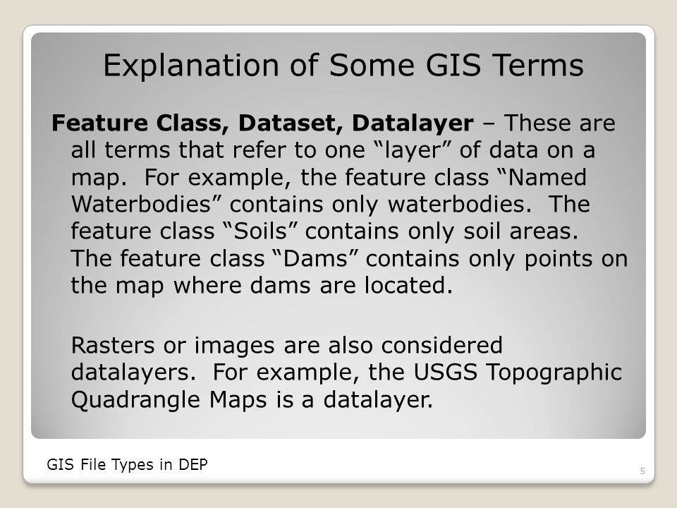 GIS File Types Coverages Shapefiles (.shp) Raster or Image Data (.tif,.sid,.jpg,.bmp, etc.) Personal Geodatabases (.mdb – same as an Access database) File Geodatabases (.gdb) ArcSDE Databases (best accessed through layer files) 6