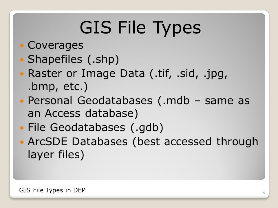 Coverages Old format Used in ArcView 3 and earlier versions No longer editable in ArcGIS 9.3, but can be displayed Cumbersome File Storage Can include export files (.e00 file extension) GIS File Types in DEP 7