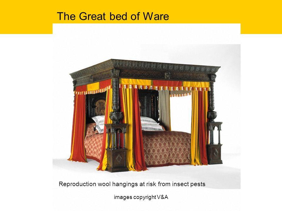 The Great bed of Ware Reproduction wool hangings at risk from insect pests images copyright V&A