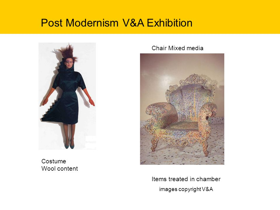 Post Modernism V&A Exhibition Chair Mixed media Costume Wool content Items treated in chamber images copyright V&A