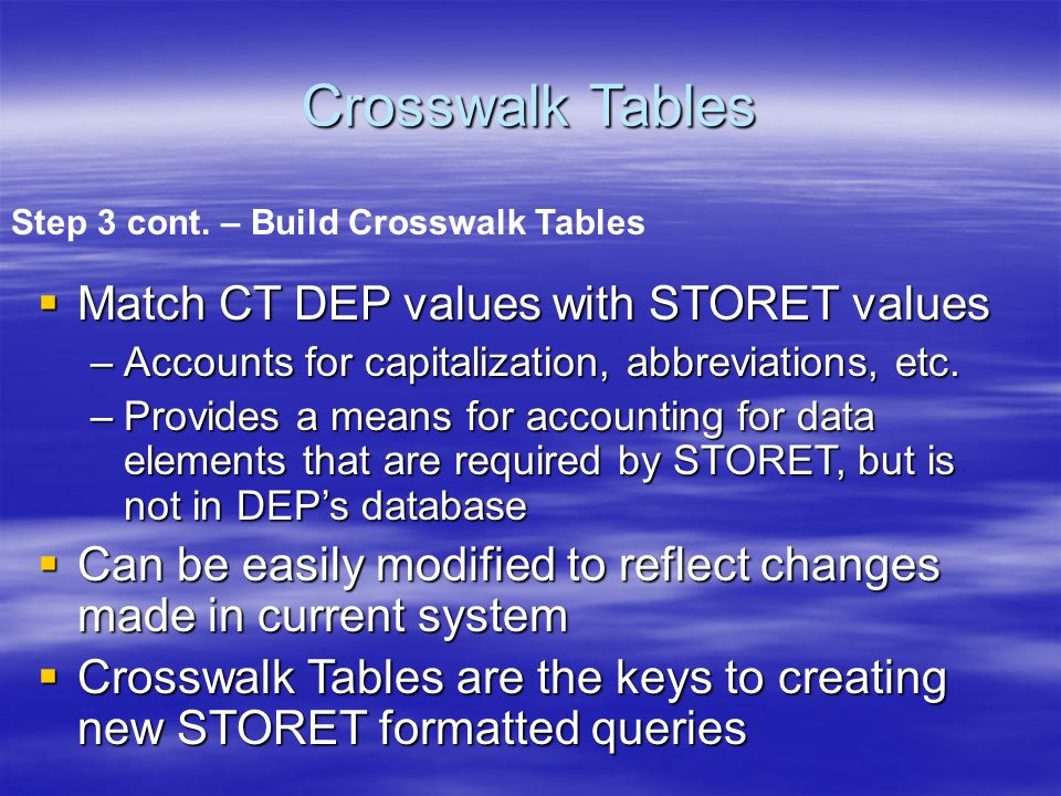 Match CT DEP values with STORET values –Accounts for capitalization, abbreviations, etc.