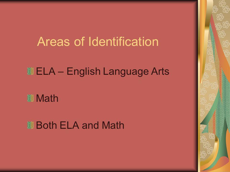 Areas of Identification ELA – English Language Arts Math Both ELA and Math