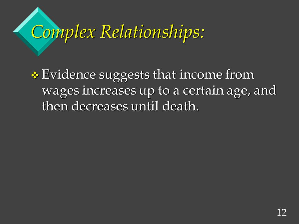 12 Complex Relationships: v Evidence suggests that income from wages increases up to a certain age, and then decreases until death.
