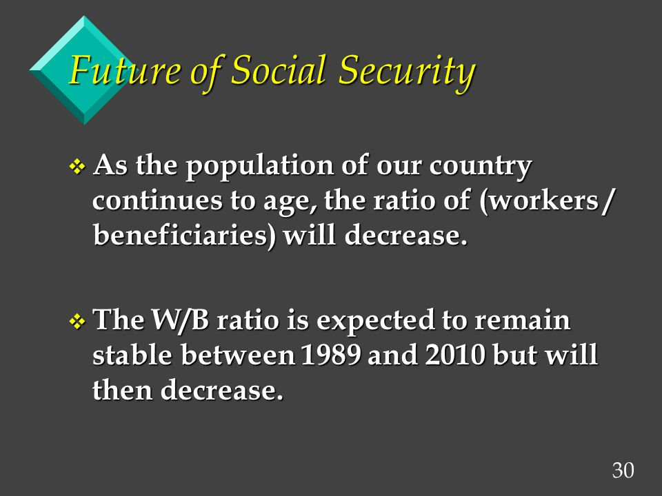 30 Future of Social Security v As the population of our country continues to age, the ratio of (workers / beneficiaries) will decrease.