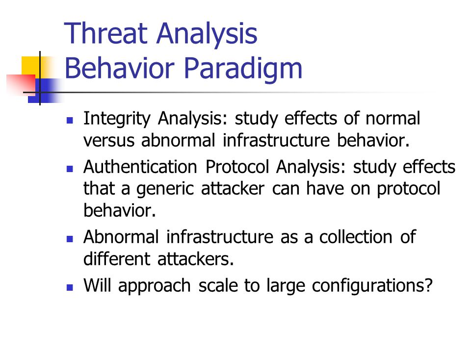 Threat Analysis Behavior Paradigm Integrity Analysis: study effects of normal versus abnormal infrastructure behavior.