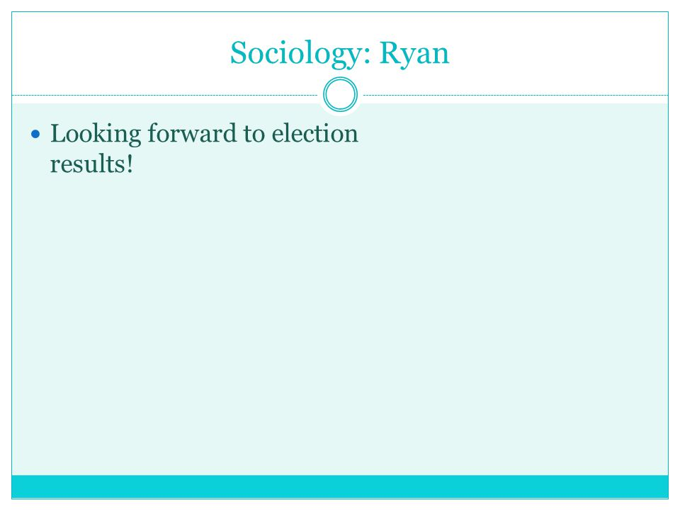 Sociology: Ryan Looking forward to election results!