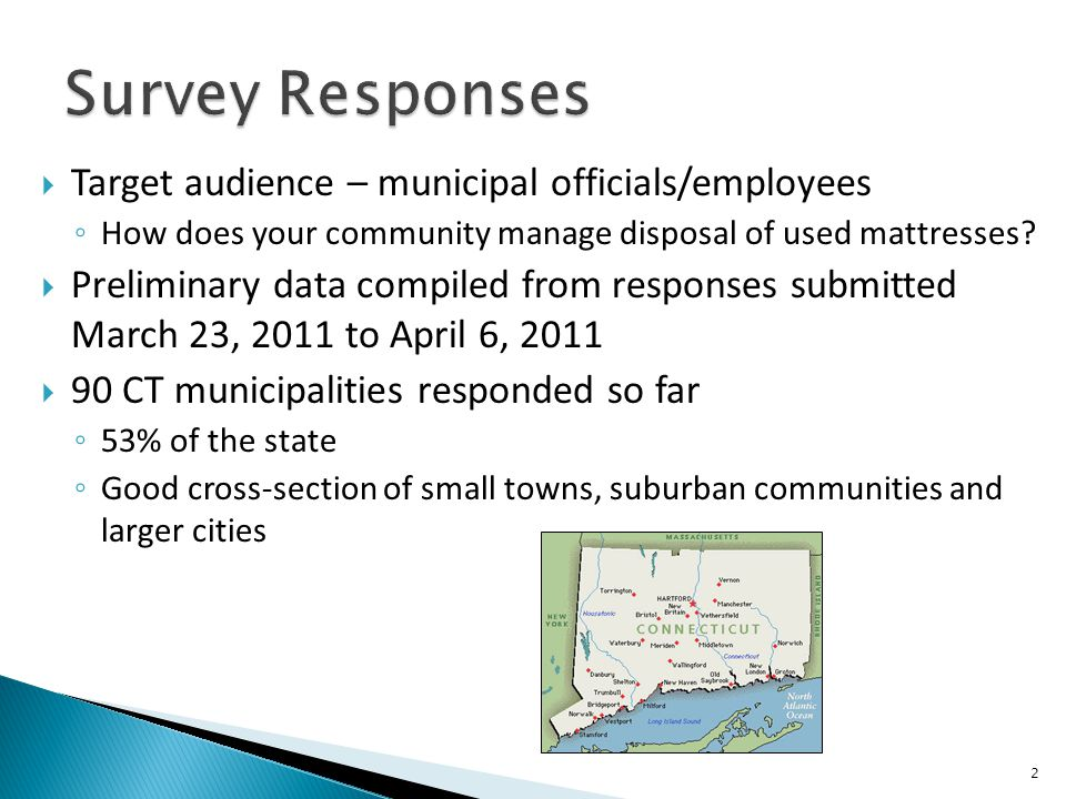  Target audience – municipal officials/employees ◦ How does your community manage disposal of used mattresses?  Preliminary data compiled from respo