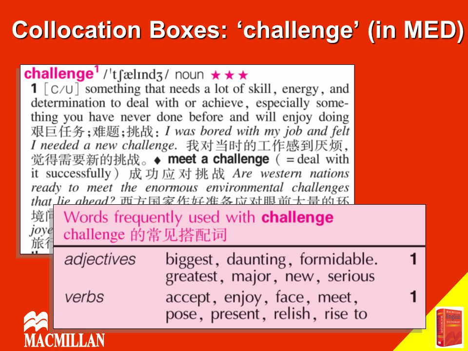 Collocation Boxes: 'challenge' (in MED)