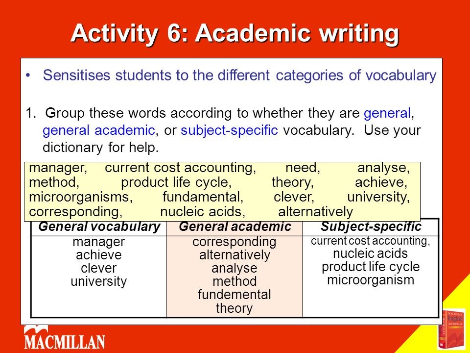 Activity 6: Academic writing Sensitises students to the different categories of vocabulary 1. Group these words according to whether they are general,