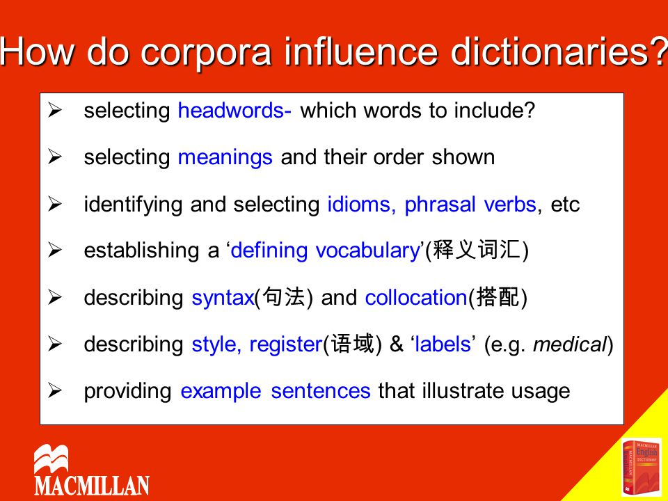How do corpora influence dictionaries?  selecting headwords- which words to include?  selecting meanings and their order shown  identifying and sel