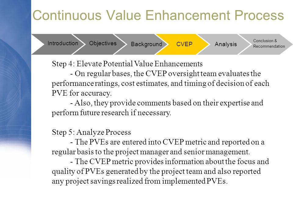 Continuous Value Enhancement Process Step 4: Elevate Potential Value Enhancements - On regular bases, the CVEP oversight team evaluates the performanc