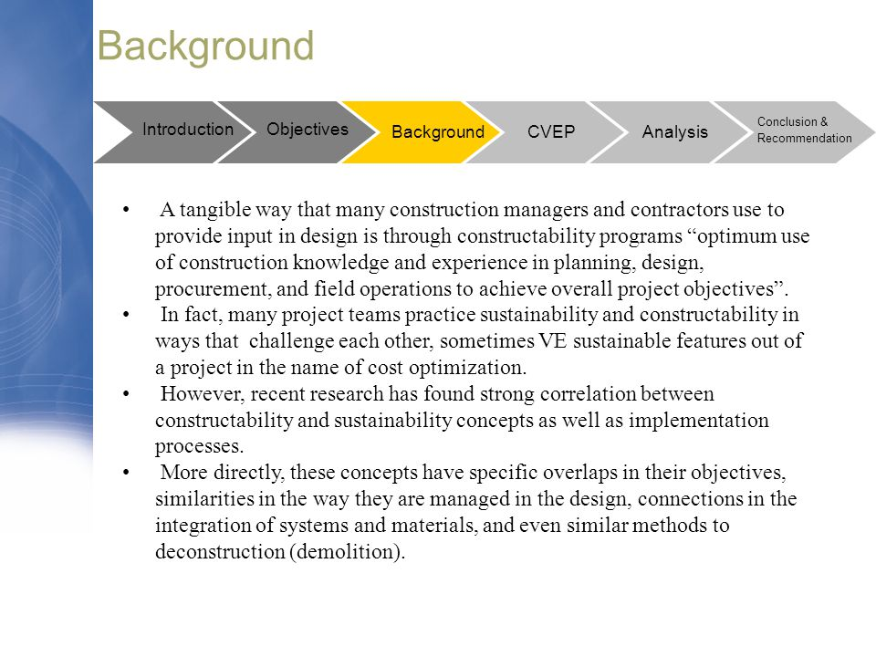 """Background A tangible way that many construction managers and contractors use to provide input in design is through constructability programs """"optimum"""