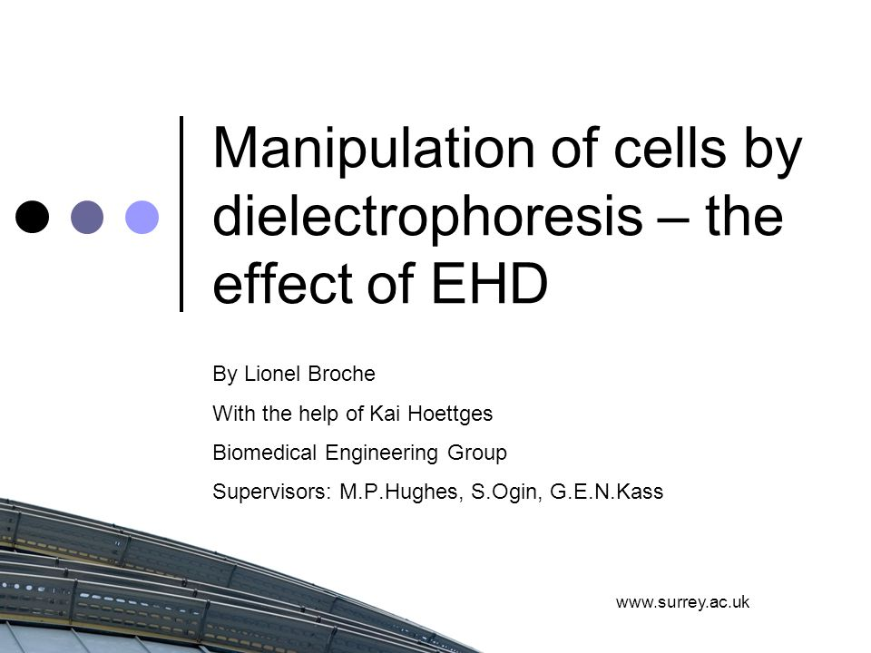 www.surrey.ac.uk Manipulation of cells by dielectrophoresis – the effect of EHD By Lionel Broche With the help of Kai Hoettges Biomedical Engineering Group Supervisors: M.P.Hughes, S.Ogin, G.E.N.Kass