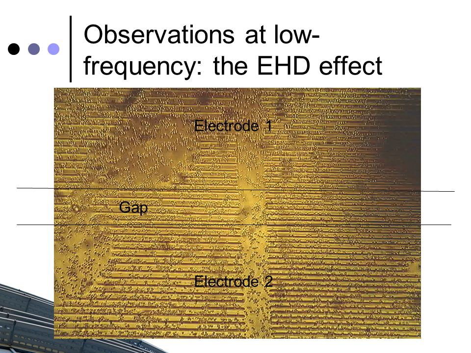 Observations at low- frequency: the EHD effect Electrode 1 Electrode 2 Gap