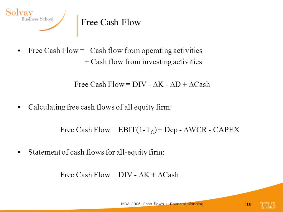 MBA 2006 Cash flows + financial planning | 10 Free Cash Flow Free Cash Flow = Cash flow from operating activities + Cash flow from investing activities Free Cash Flow = DIV -  K -  D +  Cash Calculating free cash flows of all equity firm: Free Cash Flow = EBIT(1-T C ) + Dep -  WCR - CAPEX Statement of cash flows for all-equity firm: Free Cash Flow = DIV -  K +  Cash