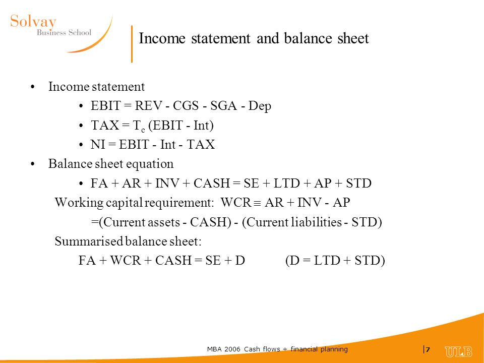 MBA 2006 Cash flows + financial planning |7|7 Income statement and balance sheet Income statement EBIT = REV - CGS - SGA - Dep TAX = T c (EBIT - Int) NI = EBIT - Int - TAX Balance sheet equation FA + AR + INV + CASH = SE + LTD + AP + STD Working capital requirement: WCR  AR + INV - AP =(Current assets - CASH) - (Current liabilities - STD) Summarised balance sheet: FA + WCR + CASH = SE + D (D = LTD + STD)