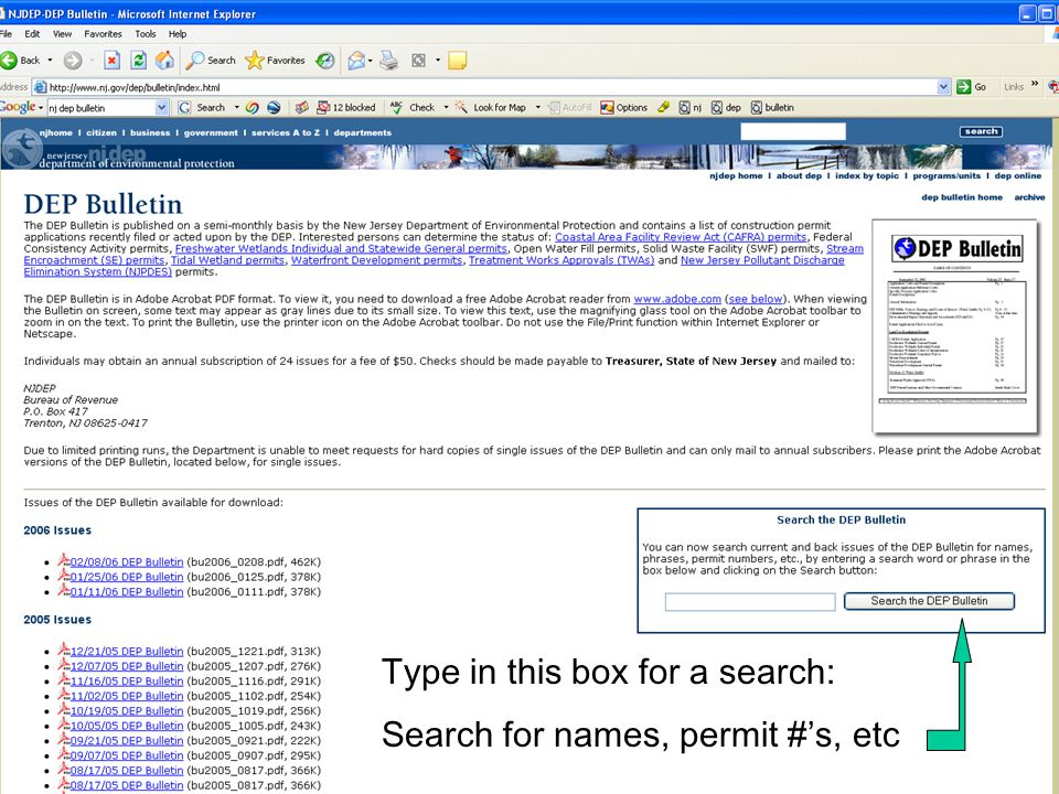 Type in this box for a search: Search for names, permit #'s, etc