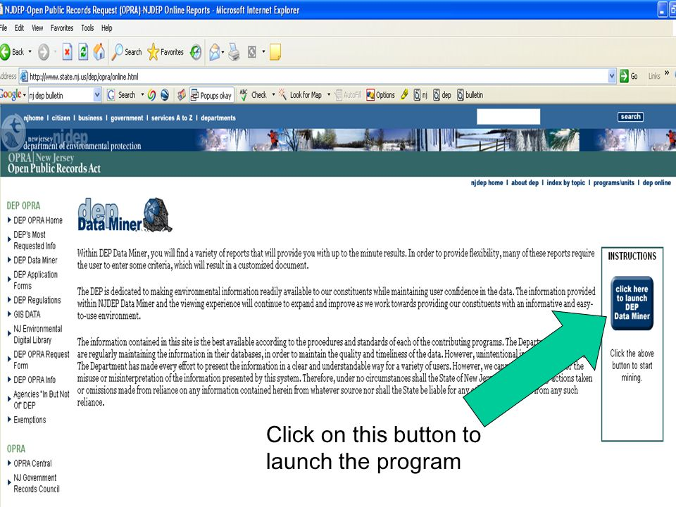 Click on this button to launch the program