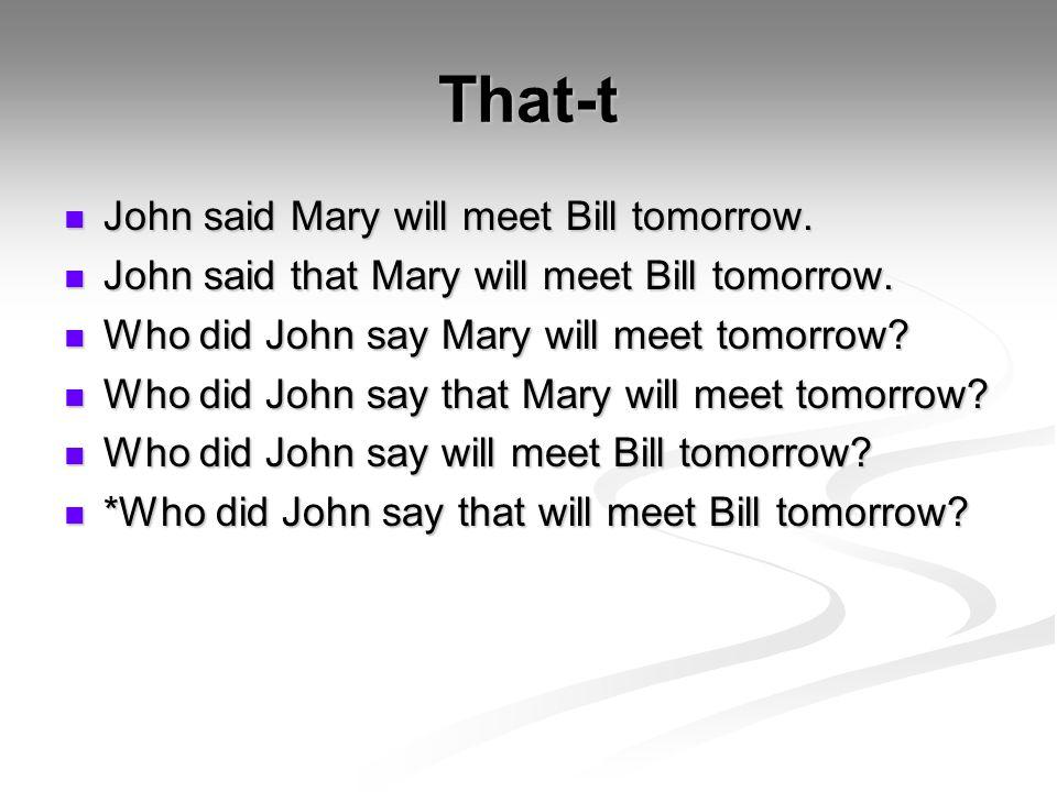 That-t John said Mary will meet Bill tomorrow. John said Mary will meet Bill tomorrow.