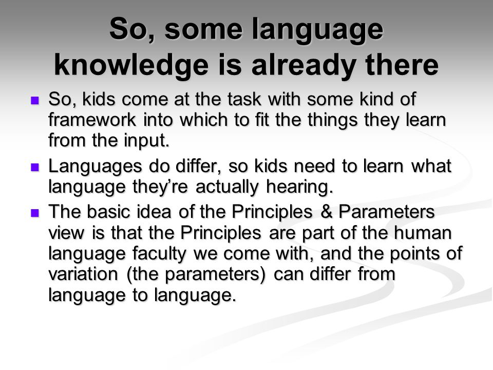 Wide open spaces The grammar space that the child has to navigate if OT is the right model of grammar is vast.