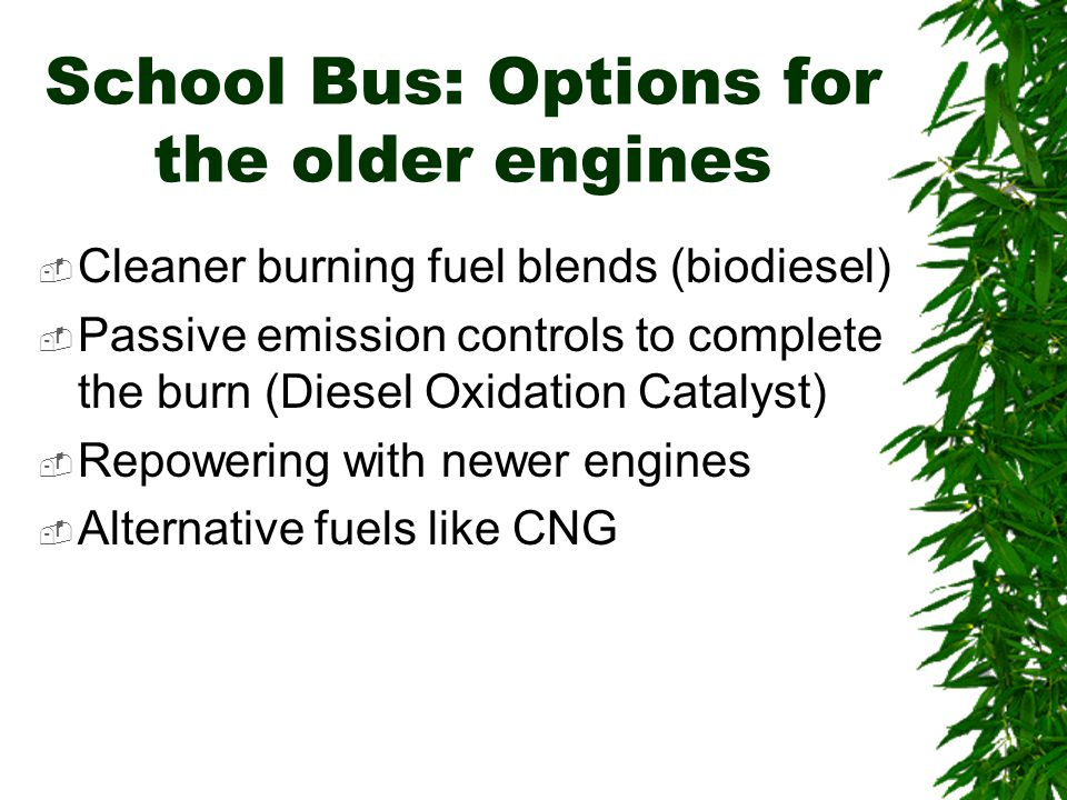 School Bus: Options for the older engines  Cleaner burning fuel blends (biodiesel)  Passive emission controls to complete the burn (Diesel Oxidation